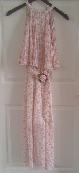 Mauve Print Halter  Maxi Dress With Belt *Final Sale*