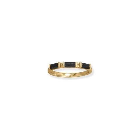 14K Gold Plated Black Baguette CZ Ring - Size 6