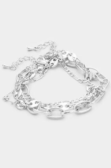 3-Piece Chain Link Metal Layered Bracelets