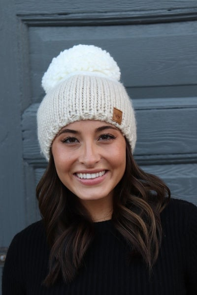 Color Block Knit Hat With Pom
