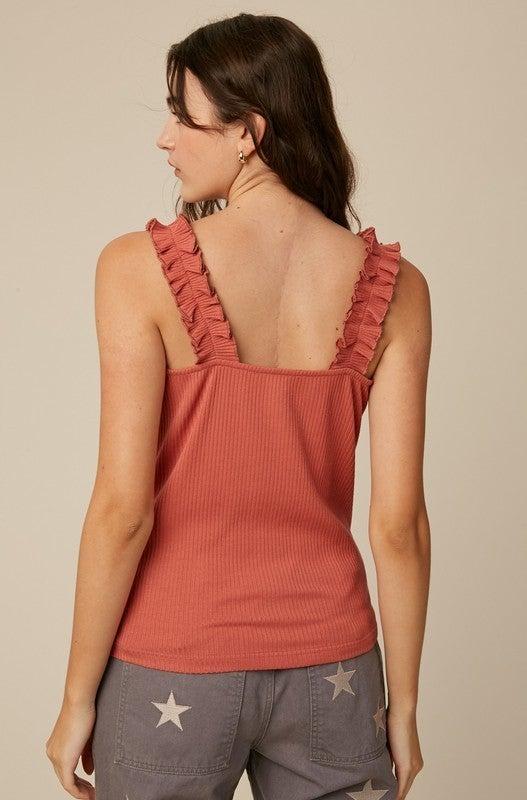Ruffle Strap Ribbed Knit Top