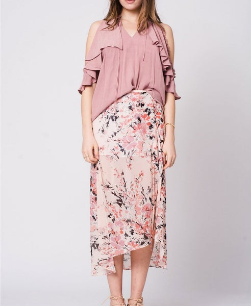 Light Pink Floral Maxi Skirt. *Final Sale*