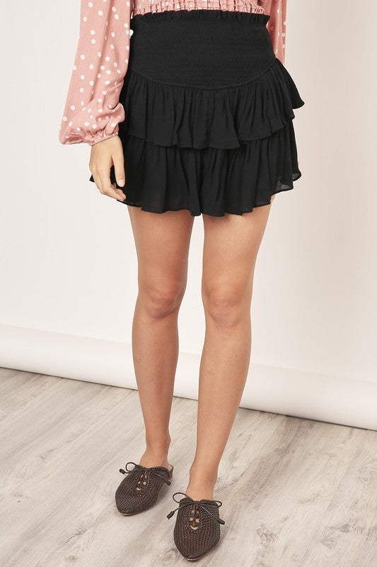 Black Ruffle Mini Skirt
