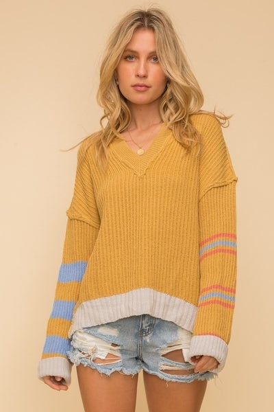 Mixed Stripe Notch V-Neck Sweater Top
