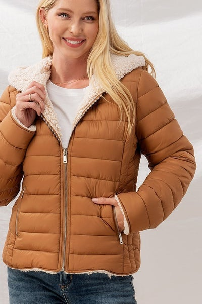 Sherpa Fleece Lined Puffer Jacket with Hood