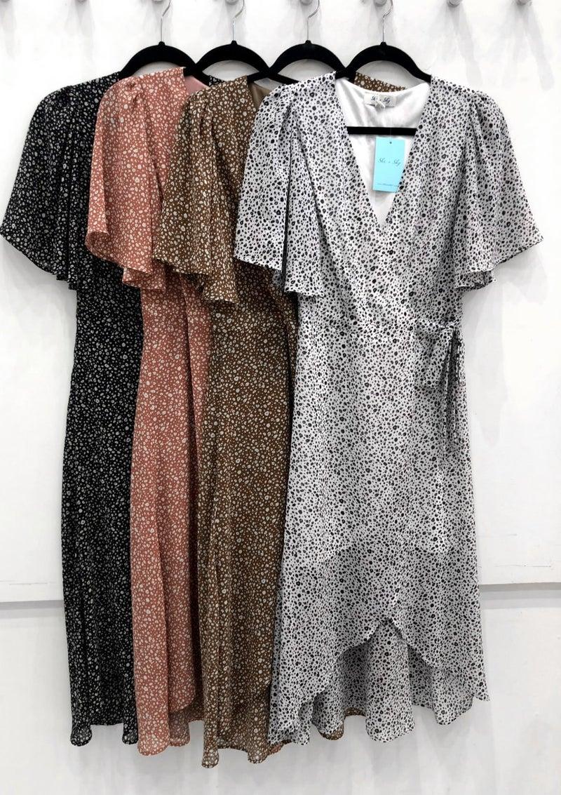 Black & White Leopard Print Maxi Wrap Dress *Final Sale*