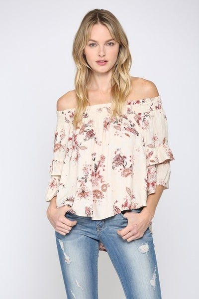 Off Shoulder Paisley Top