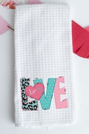 LOVE VDay Dish Towel