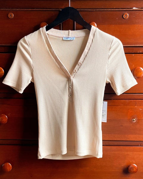 Ribbed Button V-Neck Tee *Final Sale*