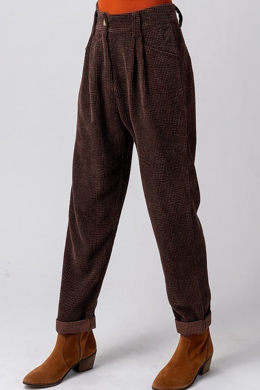 Black High Waisted Slouchy Corduroy Pants
