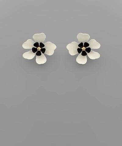 Two Tone Flower Stud