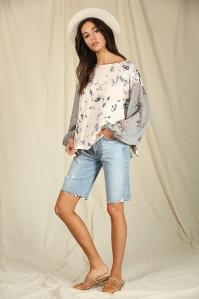 Long Sleeve Chiffon Cloud Dye Top