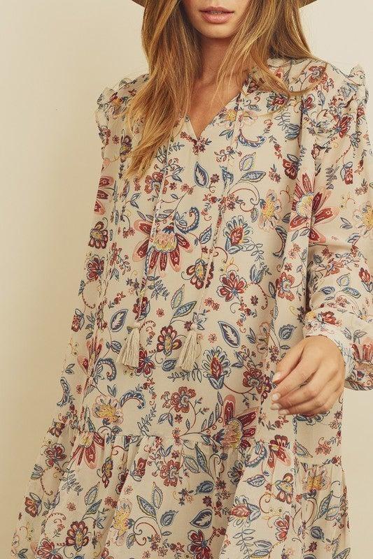 Paisley Floral Boho Mini Dress