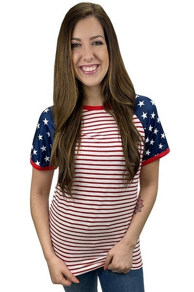 Stars & Stripes Half Sleeve Top
