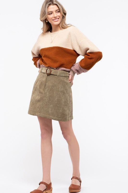 Belted Corduroy Skirt *Final Sale*