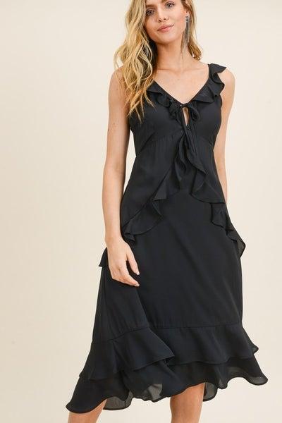 Black Ruffle Detail Midi Dress