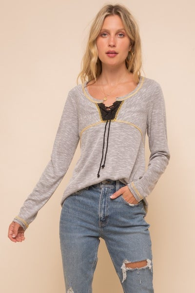 Lace Up Ribbed Top