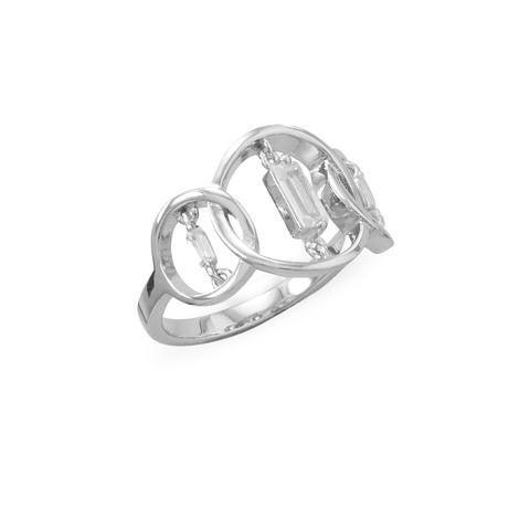 Rhodium Plated Triple Circle Suspension CZ Ring - Size 7