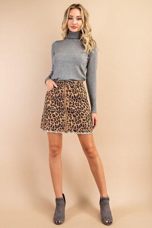 Leopard Print Zip-Front Skirt