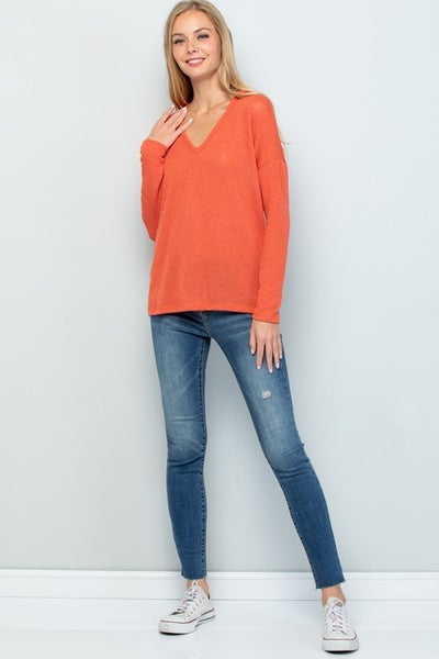 Burnt Orange V-Neck Sweater