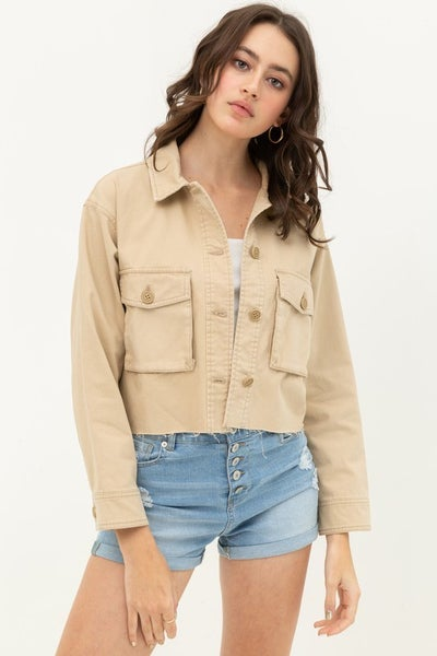 Khaki Cropped Military Cargo Jacket