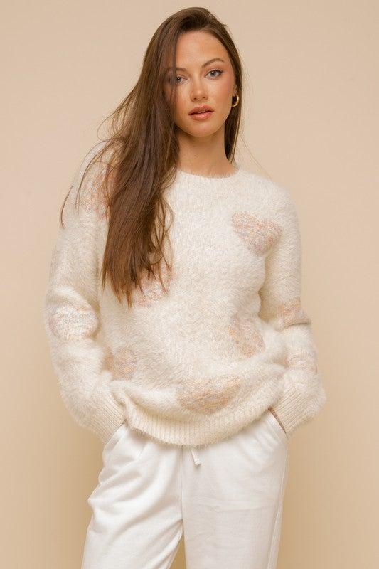 Heart Eyelash Crew Neck Sweater