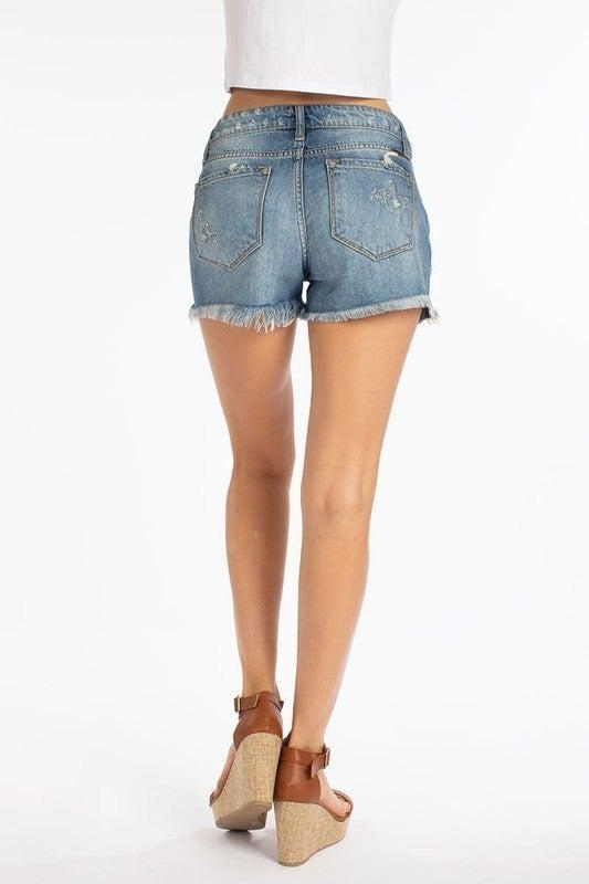 Mid Rise Distressed Denim Shorts