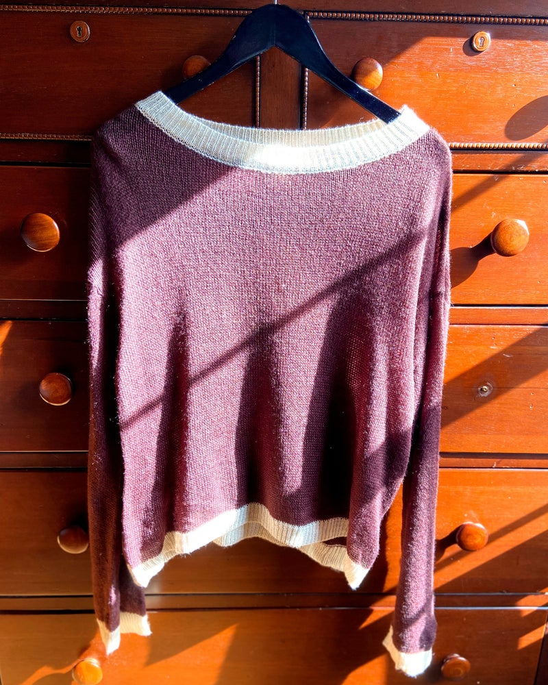 Contrast Ribbed Round Neck Pullover Sweater