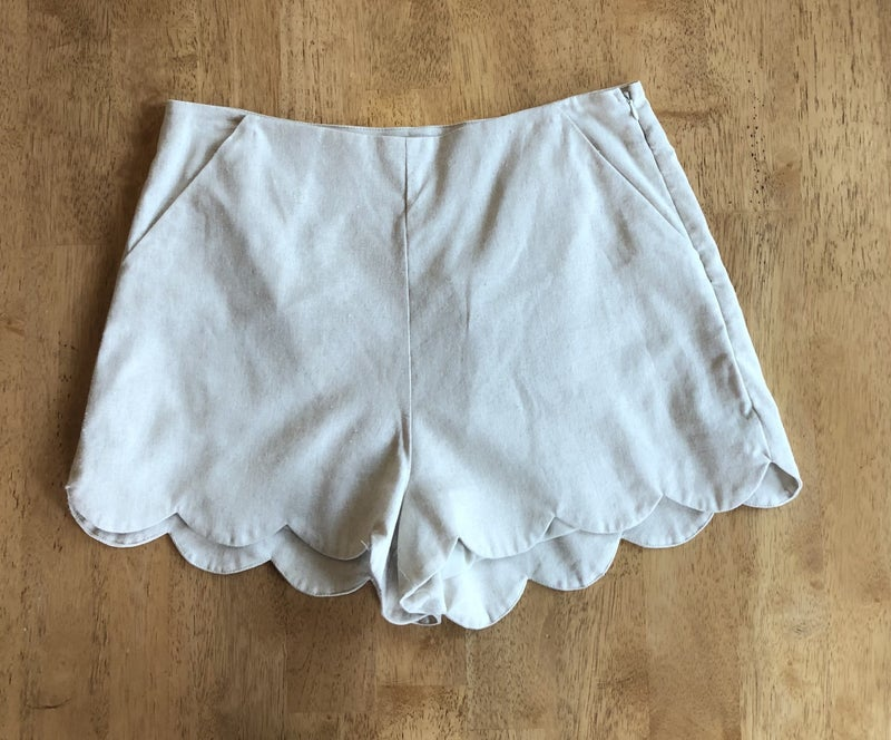 Tan Scallop Shorts *Final Sale*