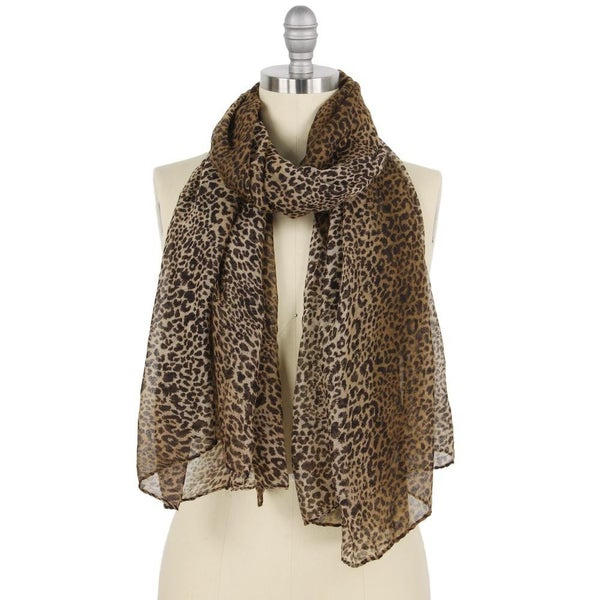 Lightweight Sheer Ombre Leopard Print Scarf