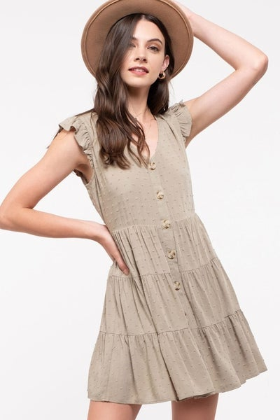 Olive Swiss-Dot Tiered Dress