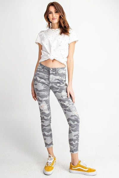 Grey Camouflage Distressed Pants