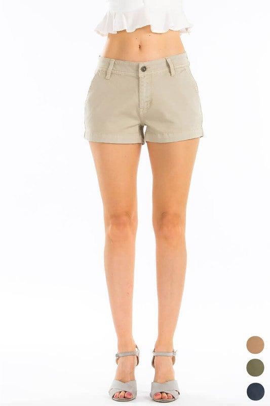 Tan Mid Rise Cotton Shorts
