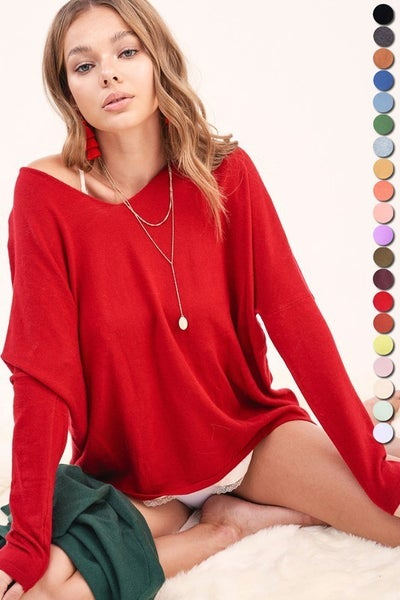 Red Melly Lightweight  Sweater