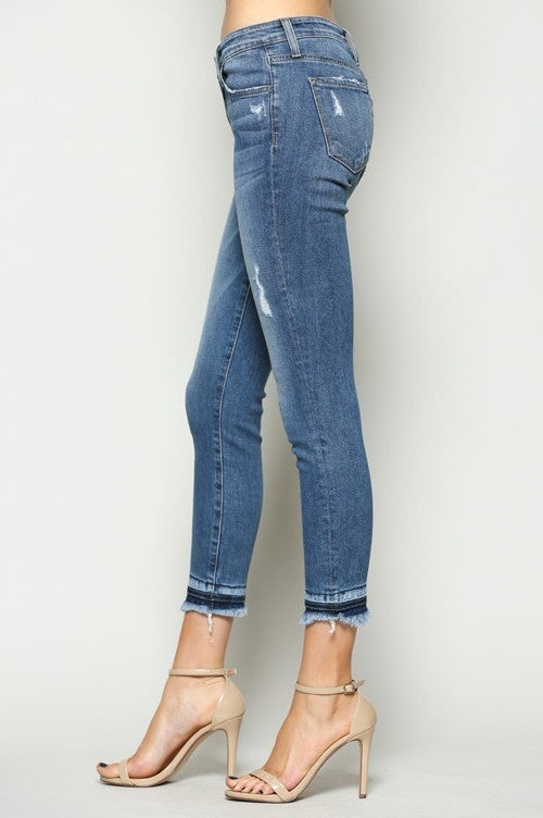 Flying Monkey Mid Rise Frayed Hem Skinny