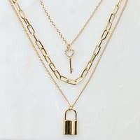 Layered Locket & Key Necklace