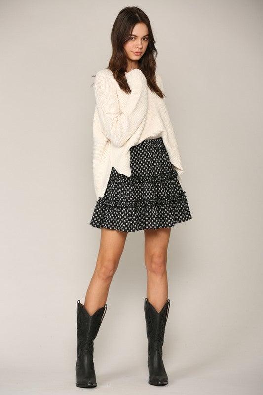 Woven Rayon Gauze Ruffled Skirt