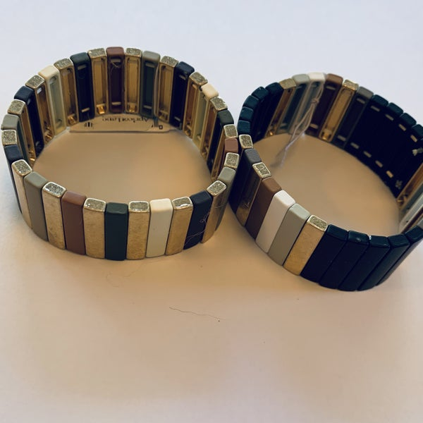 Earthtone & Gold Stretch Tile Bracelet