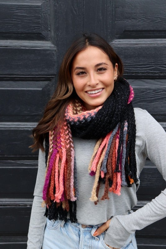 Multicolored Scarf With Fringe
