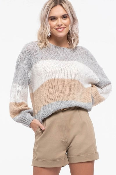 Loose Pullover Color Block Sweater