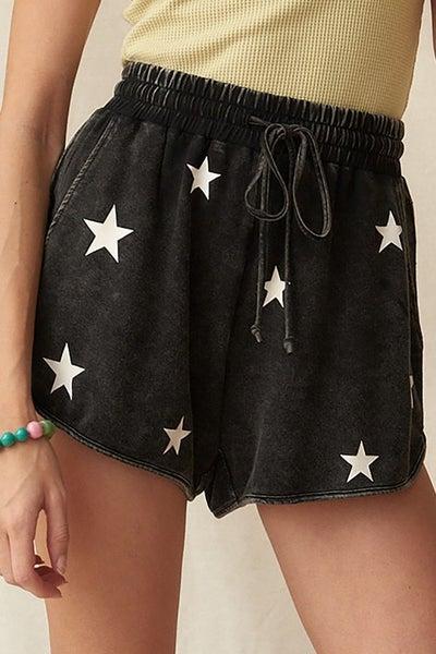 Washed Knit Stars Drawstring Shorts