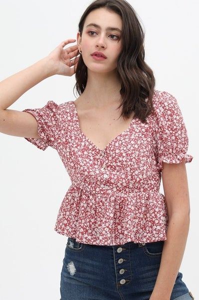 Rose Floral Printed V-Neck Crop Top