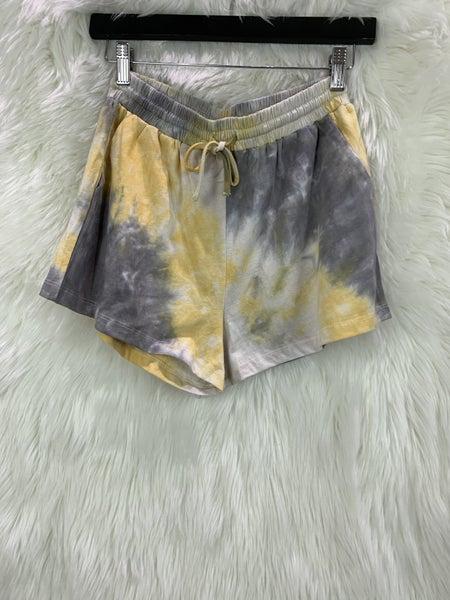 Yellow/Grey Tie Dye Sweat Shorts