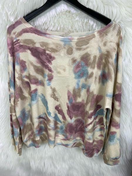 Purple Tie Dye Distressed Sweater