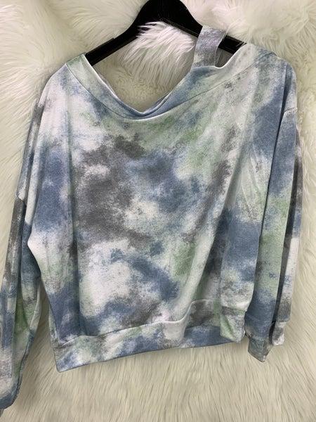 Blue/Grey One Shoulder