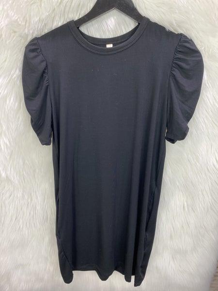 Elan Black Rouched Sleeve Tee Dress