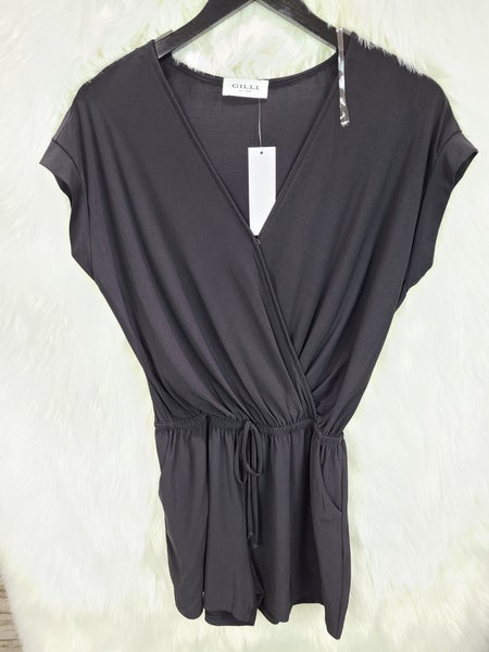 Surplice Elastic Waist Romper with Pockets