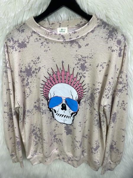 Purple Bleached Skull Sweatshirt