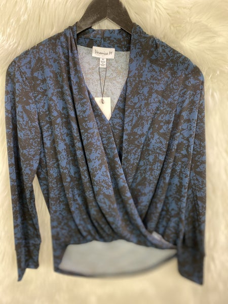 Veronica M Black and Blue Crossover Top