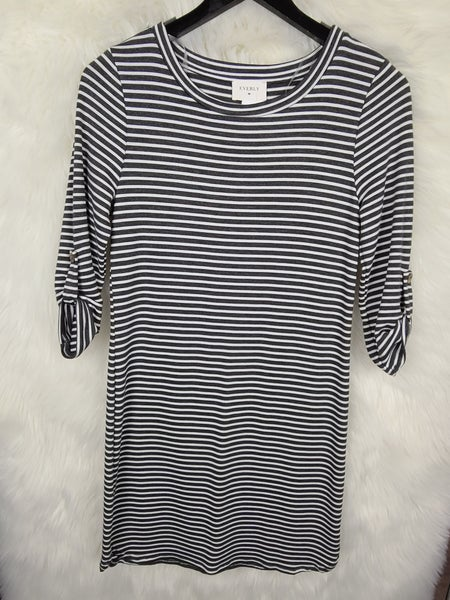 Charcoal and White Striped Dress